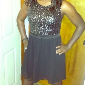 Black sequin top dress
